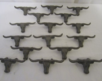 16 Cast Iron Texas Longhorn Drawer Pulls Cast Iron Western Drawer Pull Lot of 16