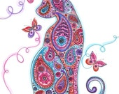 Paisley Cat and Butterflies Greetings Card