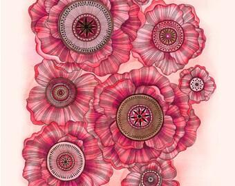 Beautiful, Intricate Poppies Print