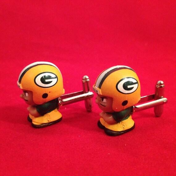 NFL Minifigures Cufflinks Green Bay Packers Football