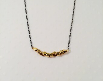 Gold Vermeil Nugget Beads w/ Oxidized Sterling Silver Chain