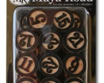 Maya Road: Wood Bingo Calendar Numbers, black