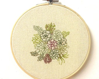 Succulent Plants Embroidery Hoop Art