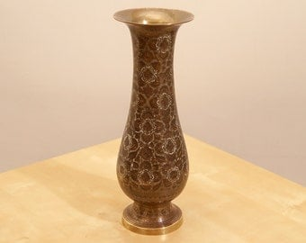 Vintage Brass Vase || High Quality Solid Brass || Floral Design