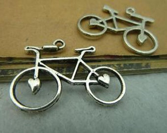 20pcs 23x30mm Antique Silver Lovely bicycle Charm Pendant c3804