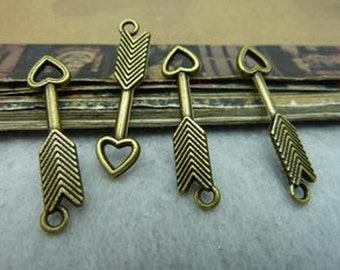 30pcs 6x28mm Antique Bronze Lovely Arrow Charm Pendant. c6396