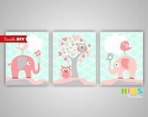 Printable DIY Girl Nursery Art Prints, Light Coral, Mint, Elephant, Birds, Tree, Owls, Set of 3 8x10 JPG files ( 009S810 ) ( cc095 )