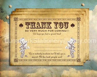 """Alice in Wonderland Thank You Card. """"Mad Tea Party"""" Theme. Instant Download"""