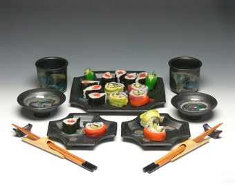 Sushi for 2 - Black Stoneware Sushi Set, Tapas for Two
