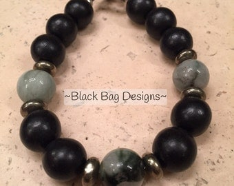 Kali's Bracelet ~ Chunky Wood and Marble with Pyrite