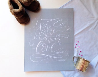 Made With Love - Hand Lettered Art Print