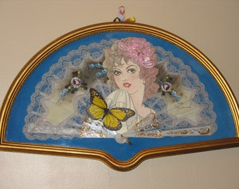 Framed Collage Original of Lady Cutout on Decorative Fan, Applique, Butterfly, Lace - Wood Half Moon Picture Frame in Glass