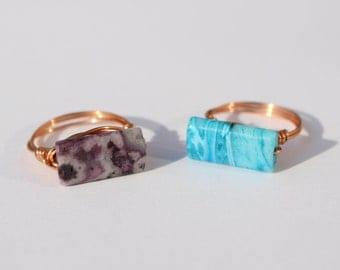 Agate Ring in Blue or Violet