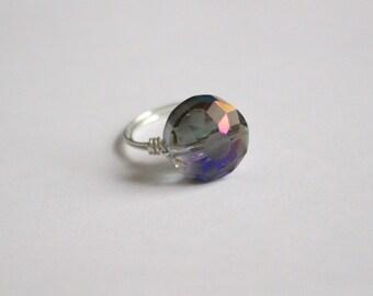 Purple Iridescent Geometric Crystal Ring