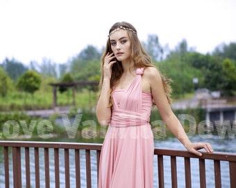 Bridesmaid Dress Infinity Dress Rose Pink Knee Length Wrap Convertible Dress Wedding Dress