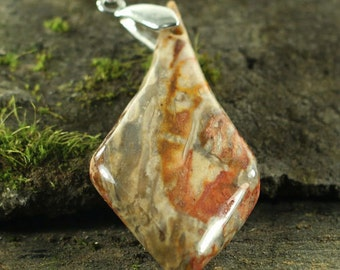 CA01905# Ocean Jasper Pendant, Ocean Jasper Gemstone Necklace With a Sterling Silver Clasp , Gemstone Pendant