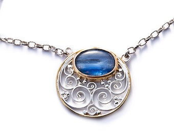 pendant sterling silver and kyanite with gold plated border