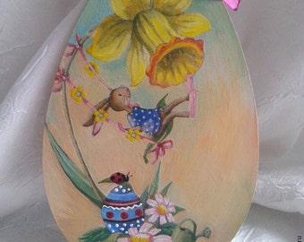 Wood egs, Decorative egg, romantic easter, easter egg, decoupage egg, egg with rabbit,children egg, painted egg