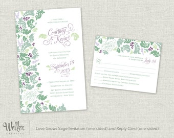 Love Grows Sage Wedding Invitation and Reply Card – Digital Download