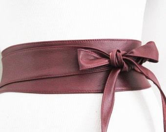 Dark Red Leather Obi Belt | Waist or Hip Belt | Leather tie belt | Real Leather Belt| Handmade Belt