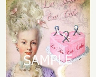 Marie Antoinette  *Let them eat cake* Fabric Block  14-0171- FREE SHIPPING