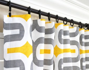 yellow grey curtains etsy. Black Bedroom Furniture Sets. Home Design Ideas