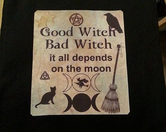 "Tote-Bag-Cotton-Canvas-Witch-Wiccan-Style-""Good Witch Bad Witch"""