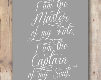 husband gift printable - Invictus poem - master of my fate captain of my soul - boyfriend gift - student gift - men gift - teen boy gift