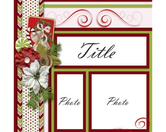 Holiday Digital Scrapbook Quick Page  12 x 12 png and jpg format.