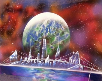 EARTH - Spray Paint Art - (11 in x 17 in ) Space Painting