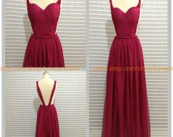 Sexy long evening dress,backless long formal dress,long bridesmaid dress,chiffon floor length bridesmaid dress evening dress