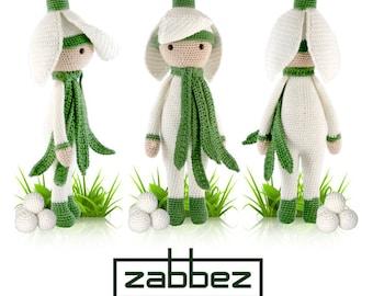 """Crochet pattern amigurumi doll """"Snowdrop Sia"""" PDF"""