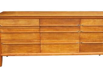 Mid Century Modern Wood 9 Drawer Credenza By Willett