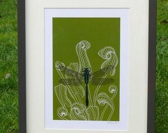 Dragonfly & fern A4 print