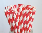 Striped Paper Straws, Red Straws, Set of 25, Vintage Paper Straws, Mason Jar Straws, Wedding Straws, Patriotic Paper Straws