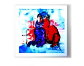 CAT & DOG - artistic ceramic tile with illustration drawing for home decor and design, great gift!