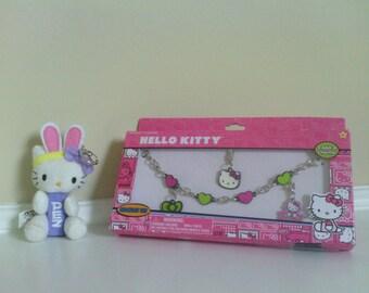 The Cutest Hello Kitty Charm Bracelet and Plush Pez  Dispenser keychain.