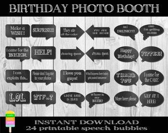 PRINTABLE Birthday Photo Booth Props–Birthday Photo Props–DIY Printable Party Props–Party Photo Booth Props–Speech Bubbles-Instant Download