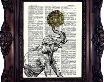 ELEPHANT ART Print on Dictionary Page Animal Food Elephant Artichoke Happy Elephant Elephant Wall Decor Elephant on Book Page Food Code.:548