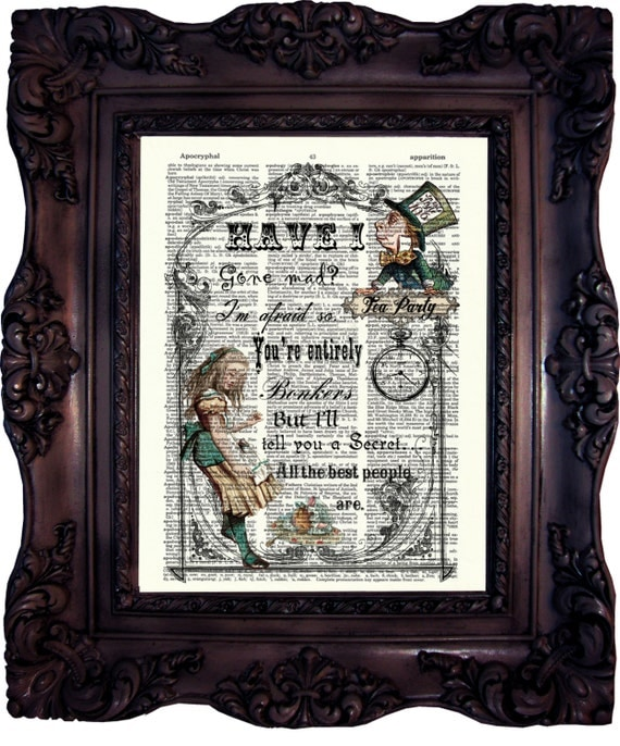 alice in wonderland decor alice in wonderland art print alice