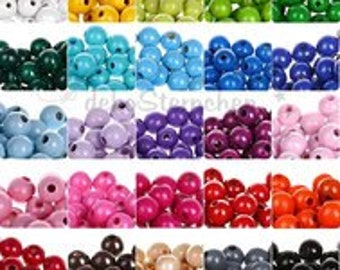 Wooden round beads 10mm (bag of 50 beads)