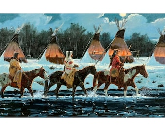 """Indian Painting : Ron Stewart Oil Painting, Original Painting, """"Quite Return"""" Signed Ron Stewart, #103"""