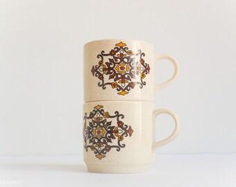 Johnson of Australia 'Rodelay' Cups (Two) - Brown Orange Pattern -