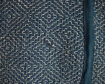 Shikimono, rare Sashiko stitched vintage Japanese multi-purpose rug, coverlet, futon bedding, blanket, quilt