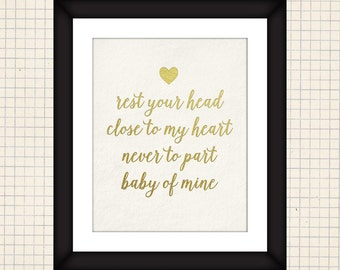 Baby of Mine Gold Foil 8x10 Art Print