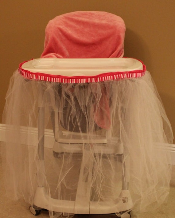 high chair birthday decoration with tutu skirt and seat cover