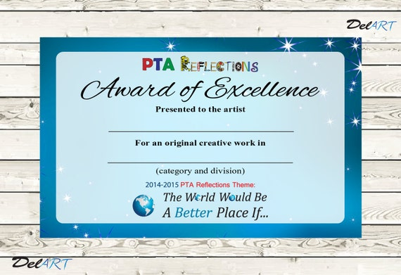 reflections award certificate template .