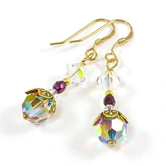 Gold Swarovksi AB Finish Handmade Earrings Flower Bead Cap
