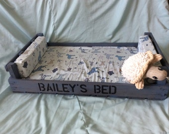 Luxury Custom handmade upcycled wooden dog bed