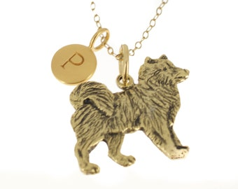 Antique Gold Plated Pewter Huskie Charm Necklace personalized with a five mm 24 K gold plated bronze initial charm.